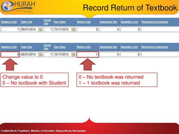 Record Return of Textbook
