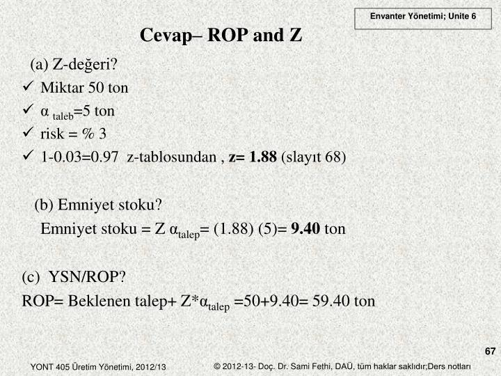 Cevap– ROP and Z