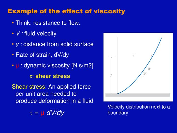 Example of the effect of viscosity