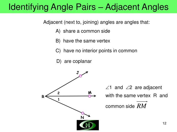 Identifying Angle Pairs – Adjacent Angles