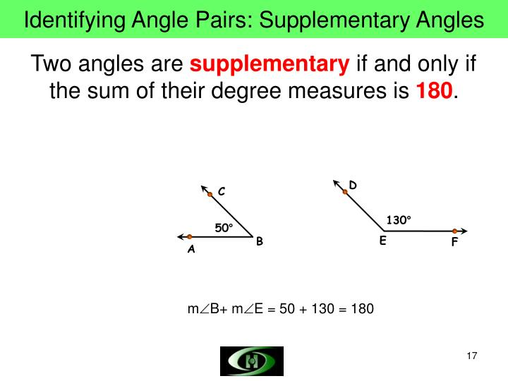 Identifying Angle Pairs: Supplementary Angles
