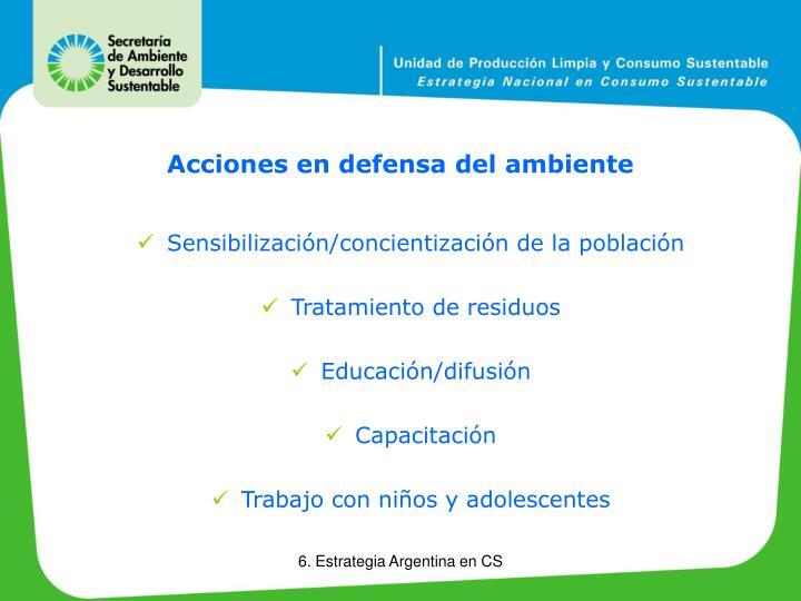 Acciones en defensa del ambiente