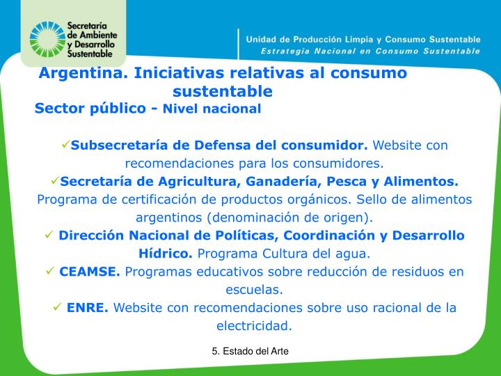 Argentina. Iniciativas relativas al consumo sustentable