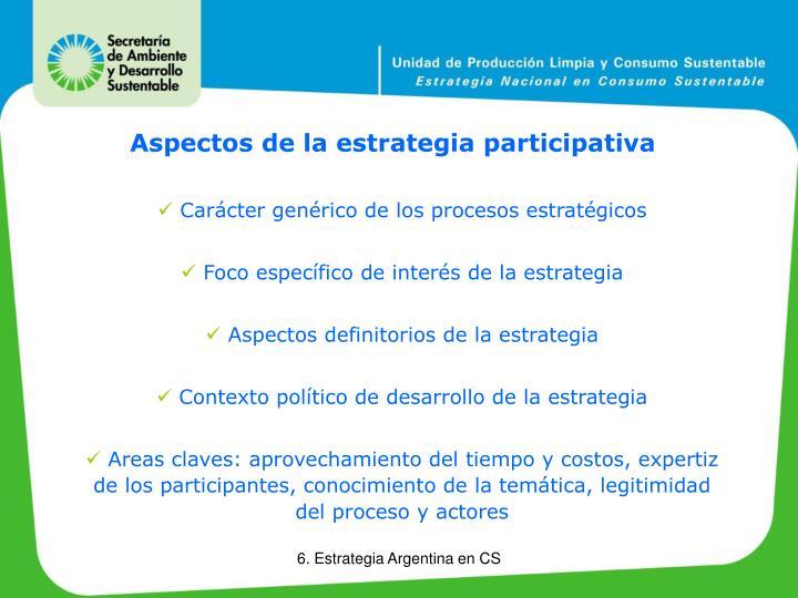 Aspectos de la estrategia participativa