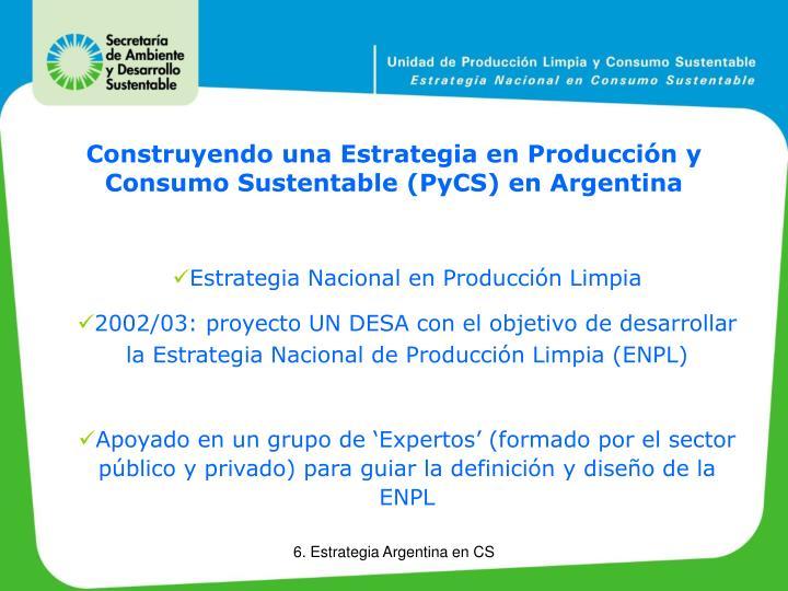 Construyendo una Estrategia en Producción y Consumo Sustentable (PyCS) en Argentina