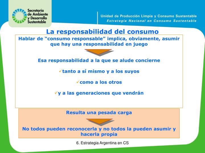 """Hablar de """"consumo responsable"""" implica, obviamente, asumir que hay una responsabilidad en juego"""