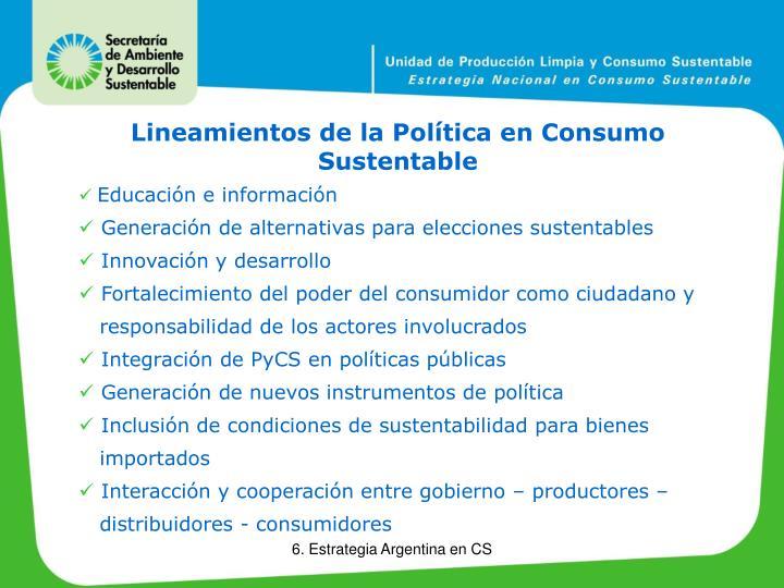 Lineamientos de la Política en Consumo Sustentable
