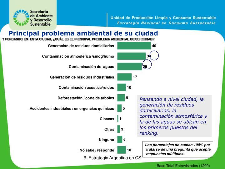 Principal problema ambiental de su ciudad