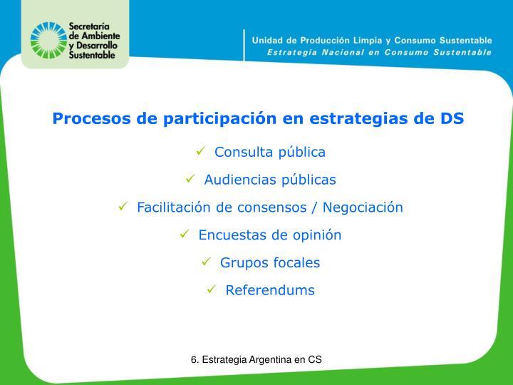 Procesos de participación en estrategias de DS