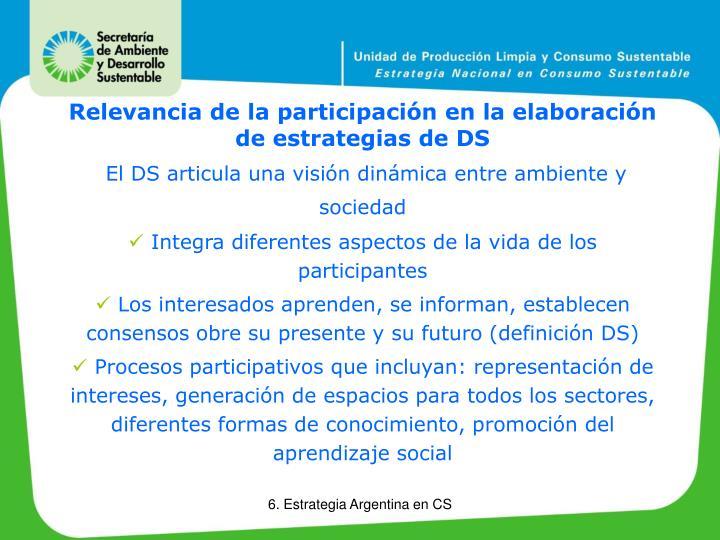 Relevancia de la participación en la elaboración de estrategias de DS