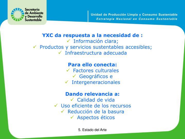 YXC da respuesta a la necesidad de :