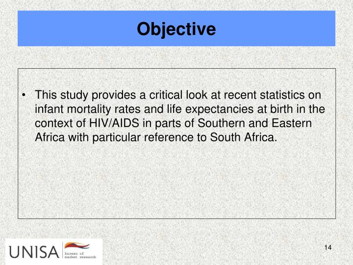 This study provides a critical look at recent statistics on infant mortality rates and life expectancies at birth in the context of HIV/AIDS in parts of Southern and Eastern Africa with particular reference to South Africa.