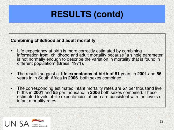 Combining childhood and adult mortality