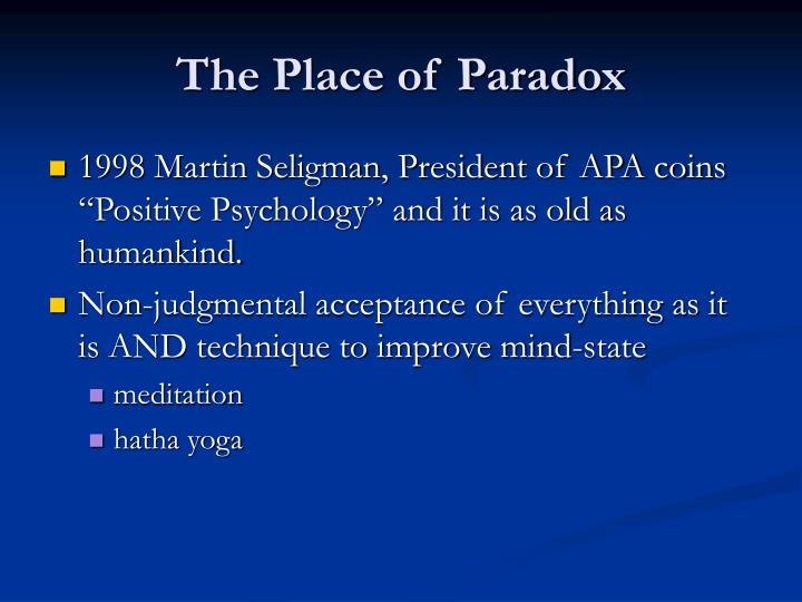 The Place of Paradox
