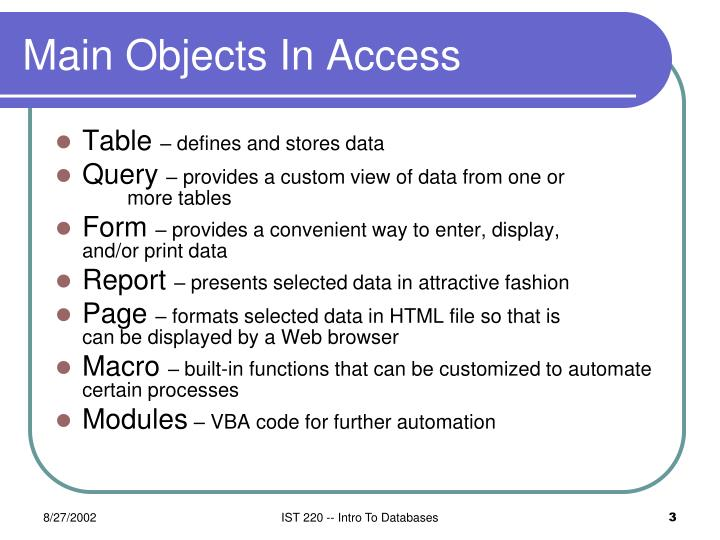 Main objects in access