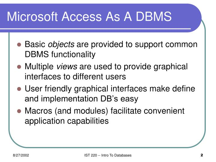 Microsoft access as a dbms