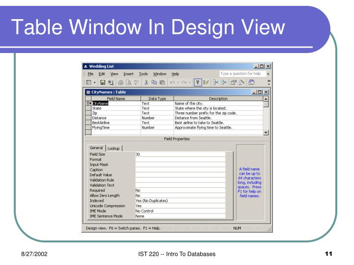 Table Window In Design View