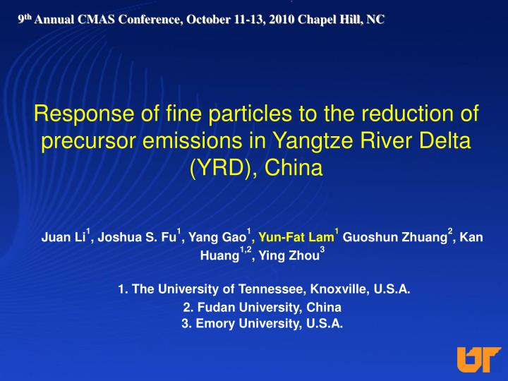 Response of fine particles to the reduction of precursor emissions in Yangtze River Delta (YRD), China