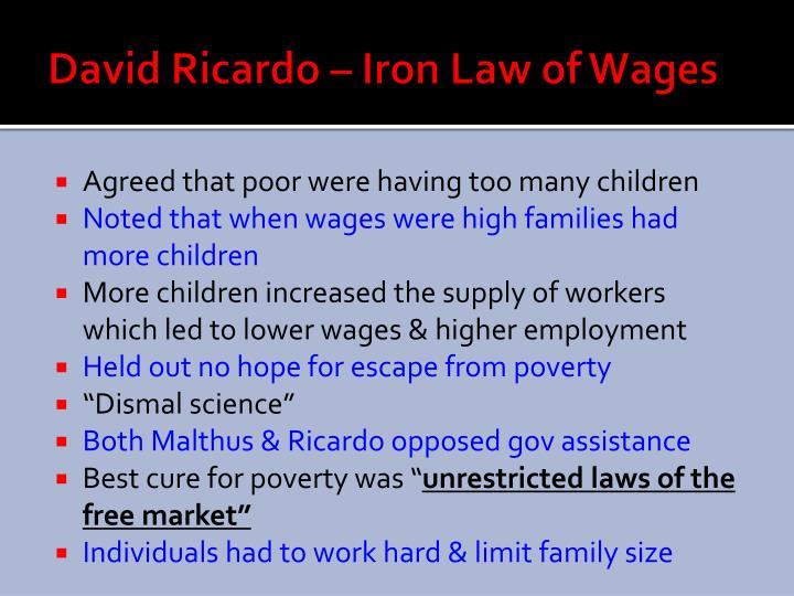 David Ricardo – Iron Law of Wages