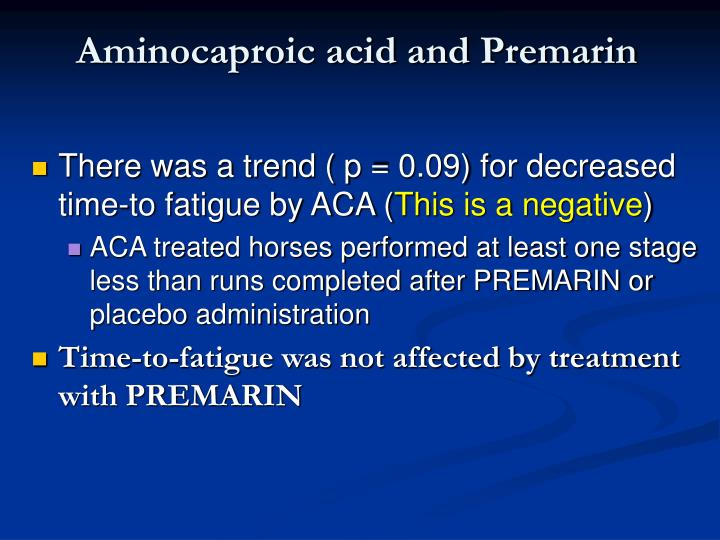 Aminocaproic acid and Premarin