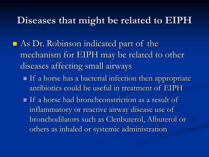 Diseases that might be related to EIPH