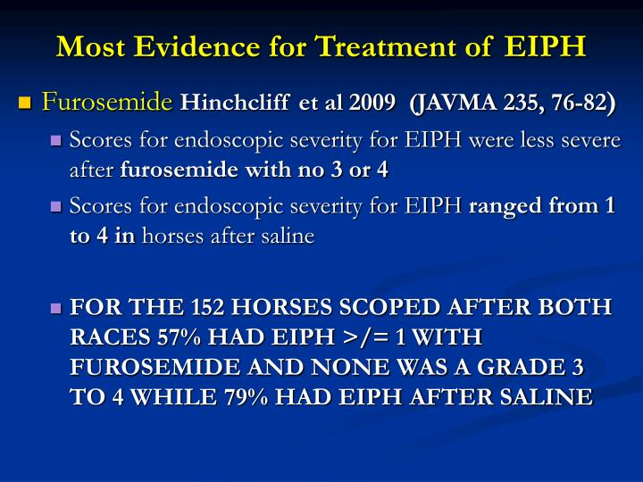 Most Evidence for Treatment of EIPH