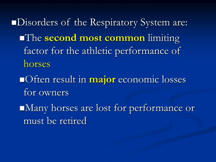 Disorders of the Respiratory System are: