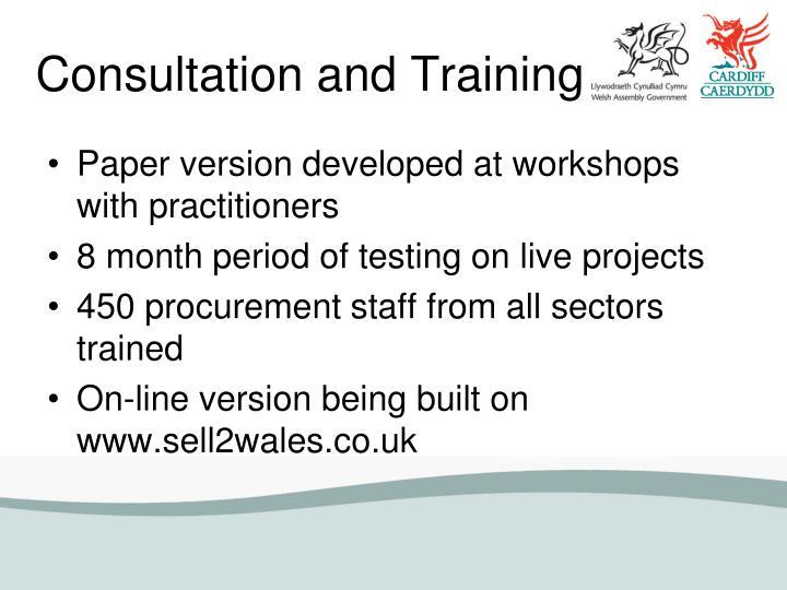 Consultation and Training