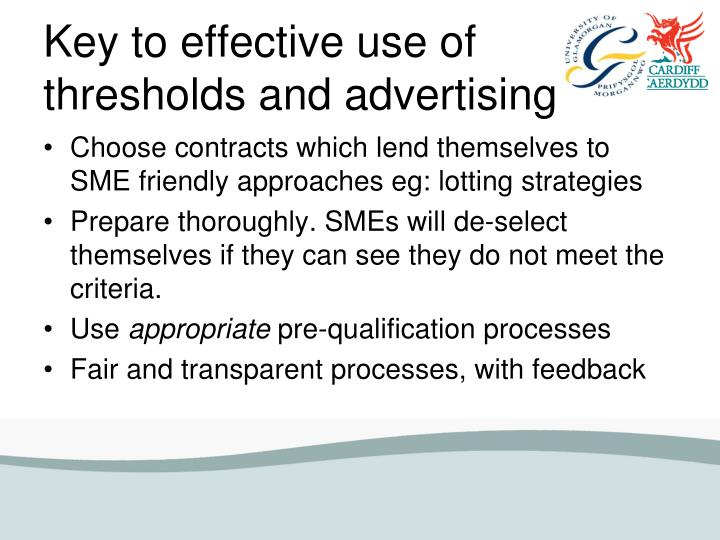 Key to effective use of thresholds and advertising
