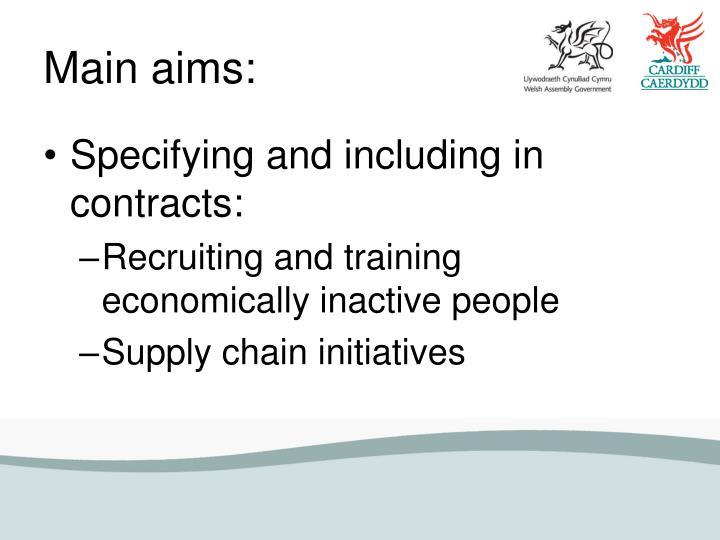 Main aims: