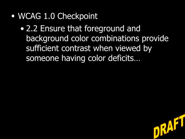 WCAG 1.0 Checkpoint