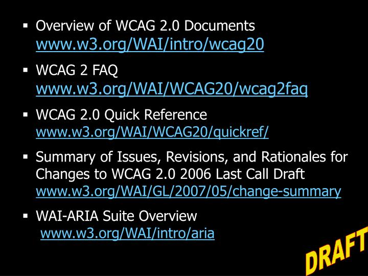 Overview of WCAG 2.0 Documents