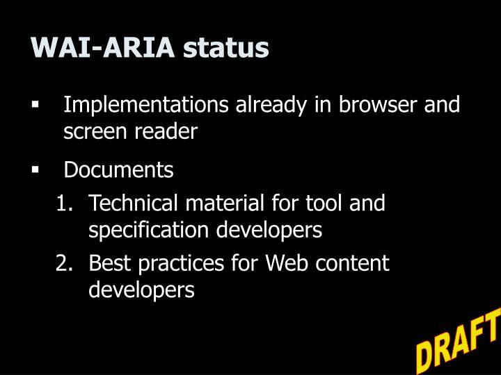 WAI-ARIA status