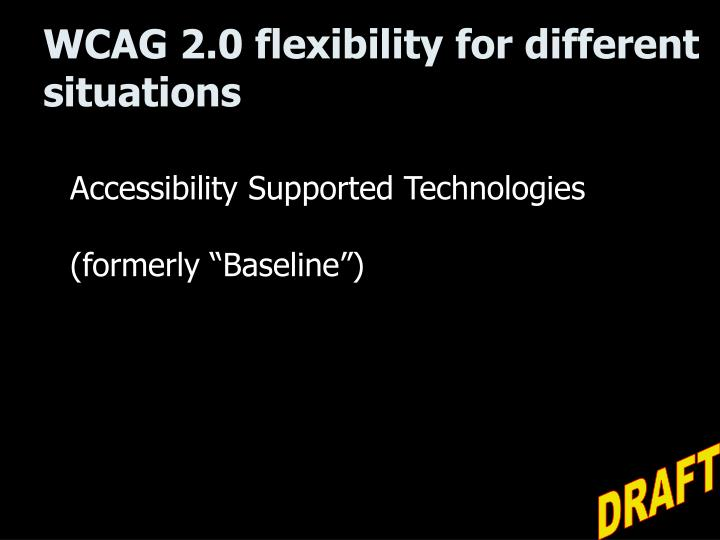 WCAG 2.0 flexibility for different situations