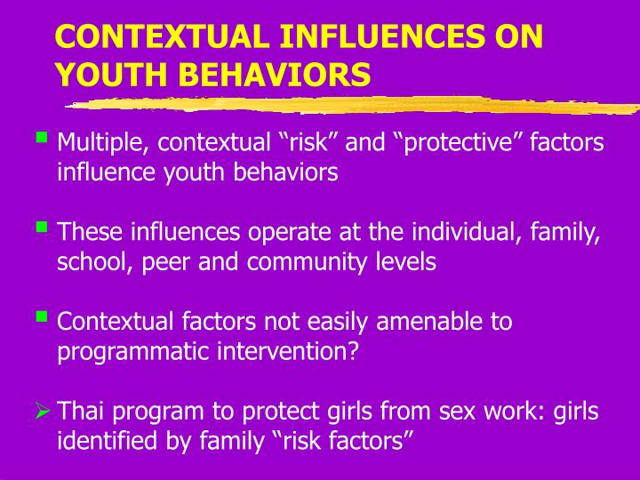 CONTEXTUAL INFLUENCES ON YOUTH BEHAVIORS