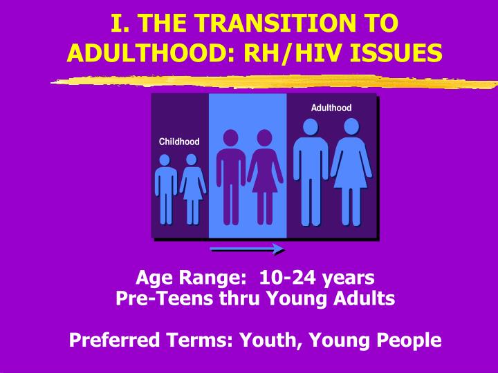 I. THE TRANSITION TO ADULTHOOD: RH/HIV ISSUES