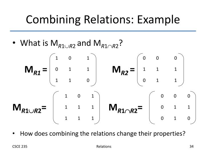 Combining Relations: Example