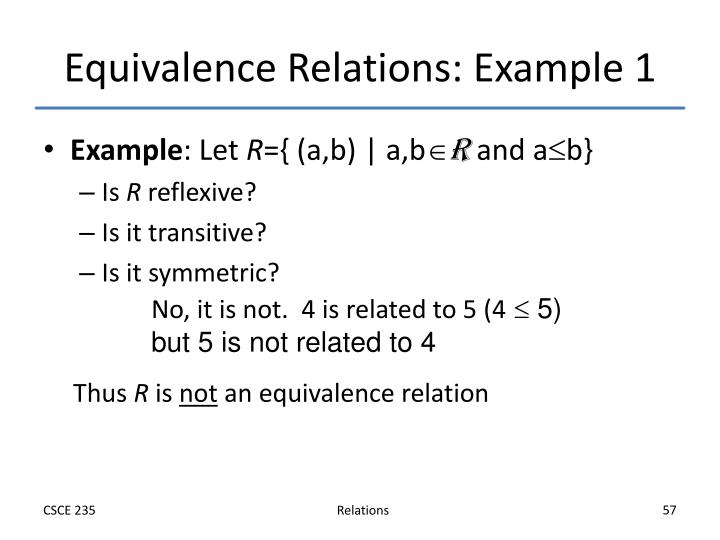 Equivalence Relations: Example 1
