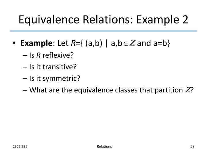 Equivalence Relations: Example 2
