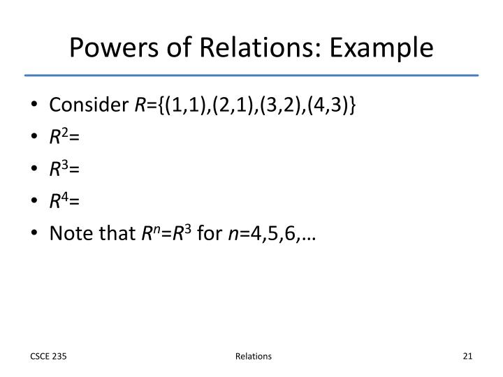 Powers of Relations: Example