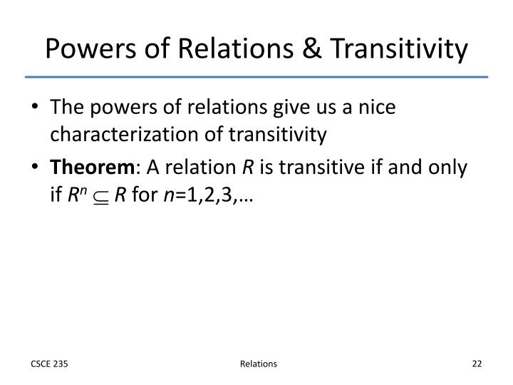 Powers of Relations & Transitivity