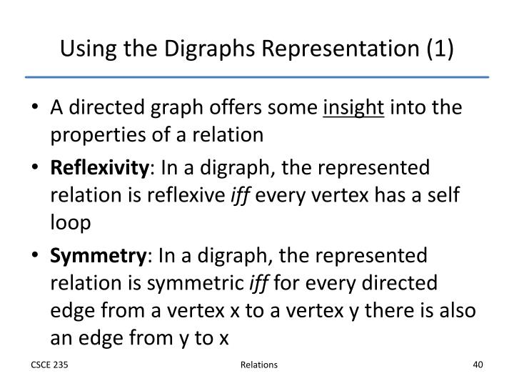 Using the Digraphs Representation (1)