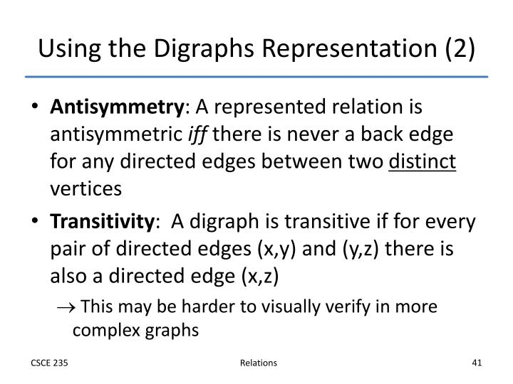 Using the Digraphs Representation (2)