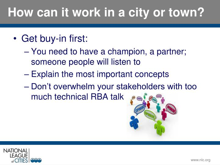 How can it work in a city or town?