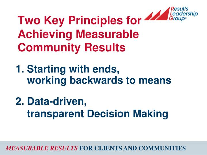 Two key principles for achieving measurable community results