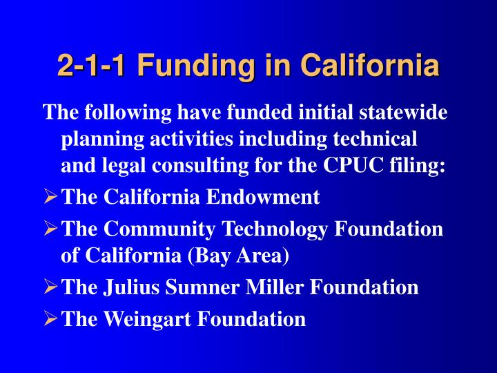 2-1-1 Funding in California