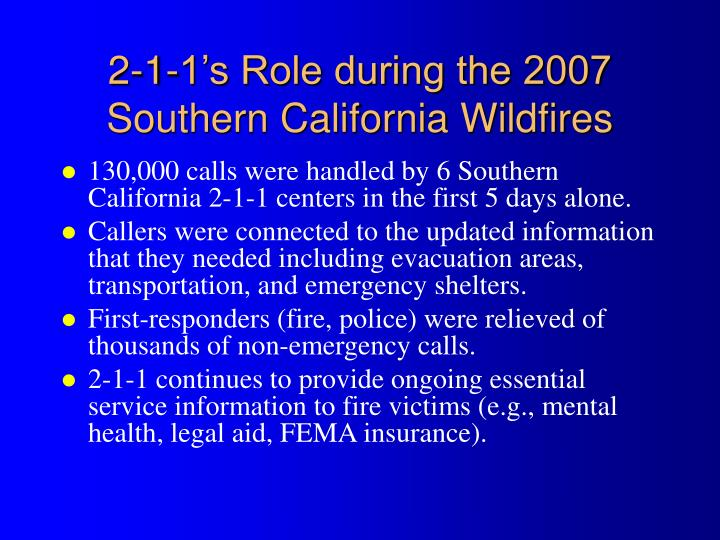 2-1-1's Role during the 2007 Southern California Wildfires