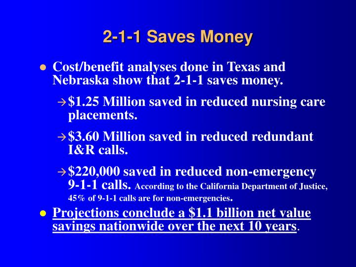 2-1-1 Saves Money