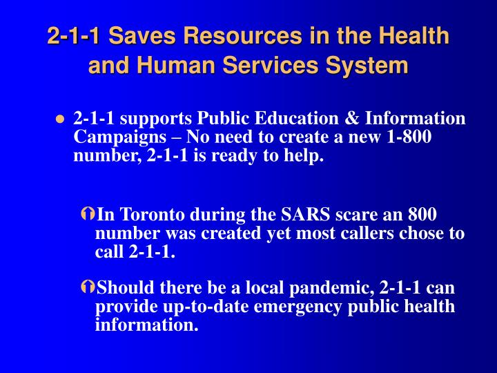 2-1-1 Saves Resources in the Health and Human Services System