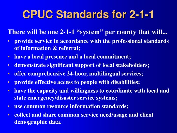 CPUC Standards for 2-1-1